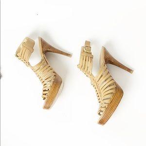 Stuart Weitzman Nude Strappy Cage Platform Sandals